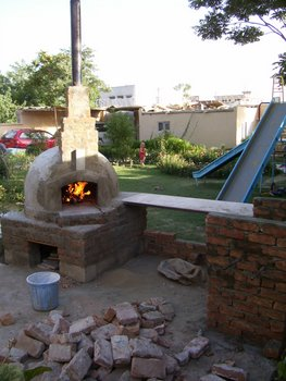 pizza oven being cured